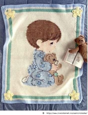 56001046 preciousmomentscrochetafghans08 Yeni Bebek Battaniye Örnekleri ,Tığ İşi Bebekli Battaniyeler