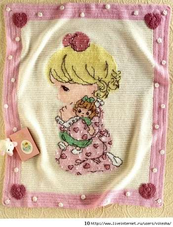 56001088 preciousmomentscrochetafghans10 Yeni Bebek Battaniye Örnekleri ,Tığ İşi Bebekli Battaniyeler