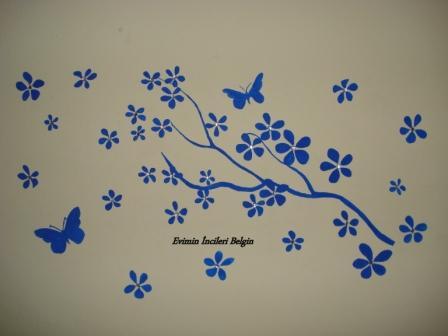 Duvar Boyama Çiçek, Dal ve Kelebekler