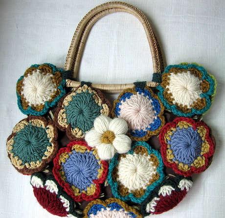 örgü motifli çanta