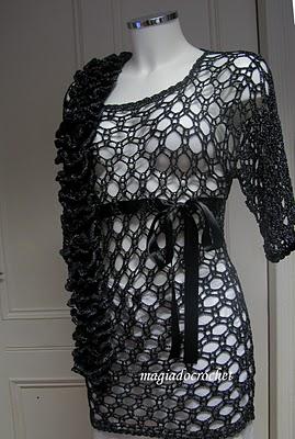 Tığişi siyah tunik modeli