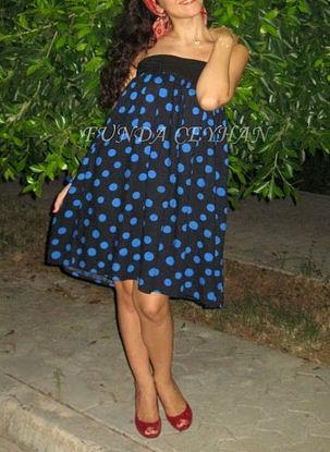 Mavi puanlı elbisem..