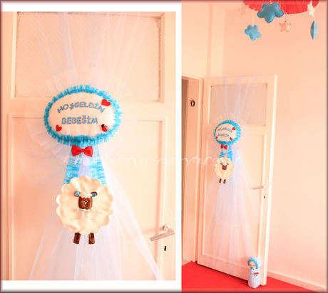 Bebeğimizin odası için yaptığım kapı süsü...