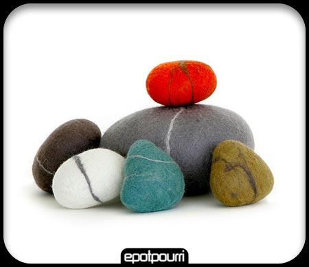 handmade soft felt pebbles çok şık yer minderleri