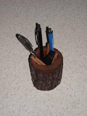ağaçtan doğal kalemlik/fırçalık