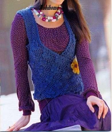 вязаный жилет,жилет,вязание,вязание крючком,дневник,комментарии,блог,блоги,синий,вязаный,жилет