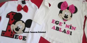 Minnie ve Minnie Mouse doğum günü tişörtleri