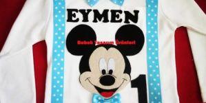 Mavili Mickey Mouse doğum günü tişörtü