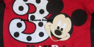Mickey Mouse kırmızı keçe tişört