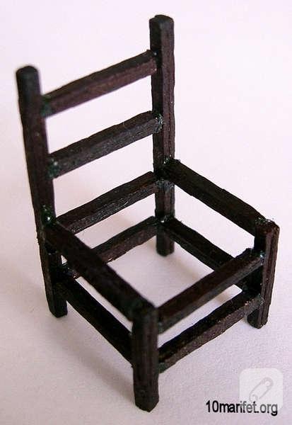 kibrit çöplerinden minyatür maket sandalye yapımı
