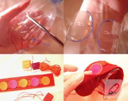 Pet şişeden pembe keçe bileklik yapımı