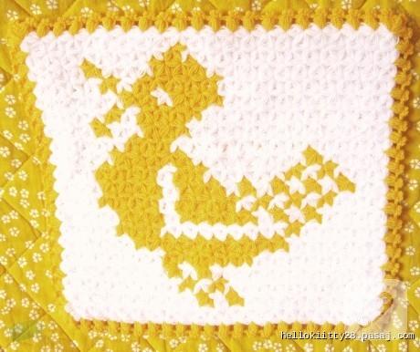 sarı ördek desenli örgü lif