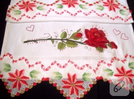 Kırmızılı havlu kenarı danteli örnekleri
