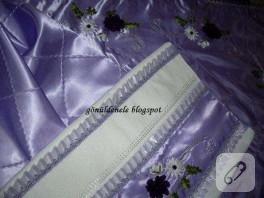 Lila gelin damat takımı: seccade, bohça ve havlu kenarı