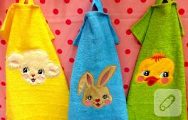 Hayvan deseni aplikeli havlu kenarı modelleri