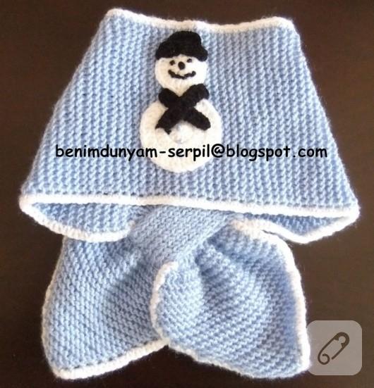 erkek bebek için kardanadamlı mavi örgü atkı modeli