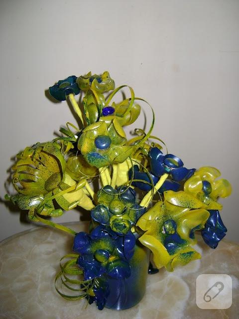 pet şişeden çiçek