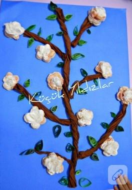 Bahar Dalı (Peçetelerden çiçek yapımı)