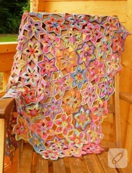 Tığ İşi, Çiçekli Battaniye