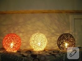 El Yapımı Rengarenk Masa Üstü Abajurlar