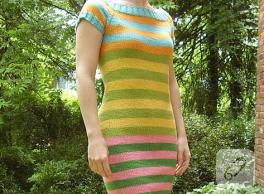 Yazlık Çizgili Örgü Elbise