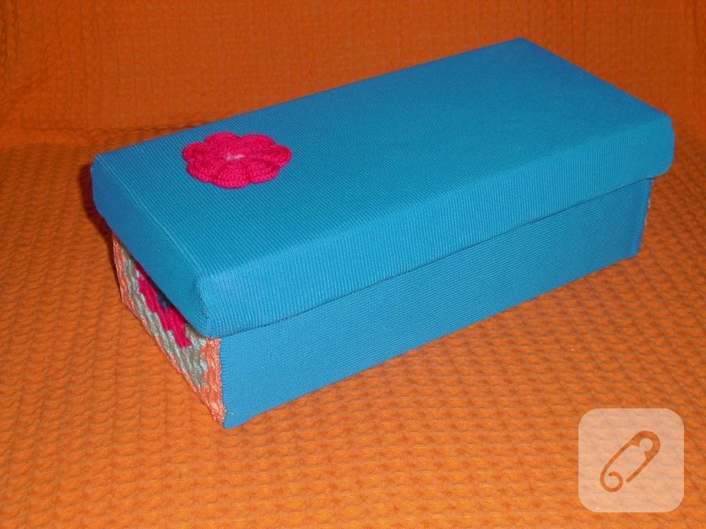 mavi kumaş kutu kaplama 1