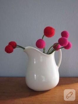 Yün ipten keçe çiçek yapımı…