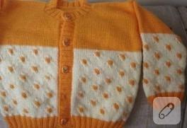 turuncu-krem bebek ceketi modeli…