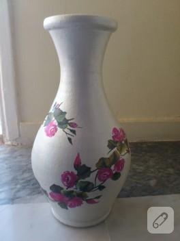 Güllü vazo yaptım