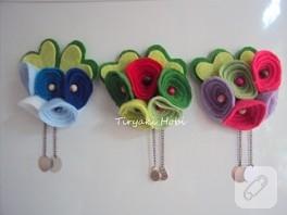 Keçe çiçek magnetler -1