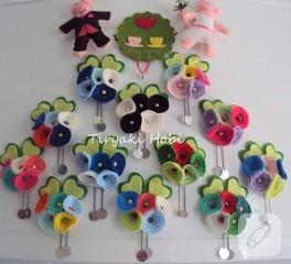 Keçe çiçek magnetler -2