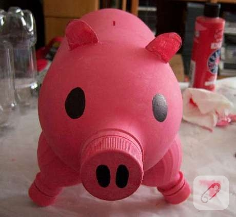 Domuz kumbara for Plastic bottle piggy bank craft