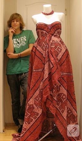 Eşarplardan Elbise Yapımı