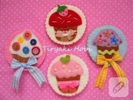 Keçe magnet – cupcake