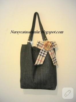 Siyah kot kumaş çanta