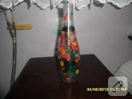 Guaj boyayla şişe süsledim, oldu mu oldu!