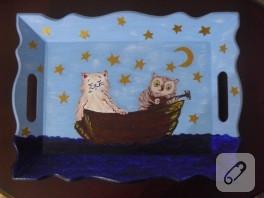 Ahşap Tepsi – Kedi ve Baykuş