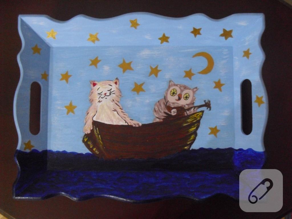 ahşap boyama tepsi-3 kedi,baykuş