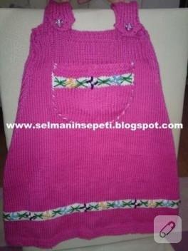 Kız Çocuklarına Pembe Örgü Elbise