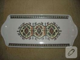 seramik kilim desenli tepsi