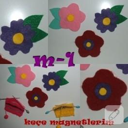 Keçe Çiçekten Magnetler