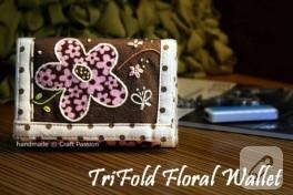 çiçekli 3 kat cüzdan