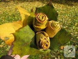 doğal yapraklardan gül yapımı