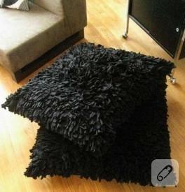 Penye kumaştan shaggy yastık
