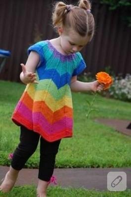 Gökkuşağı kız çocuk elbisesi