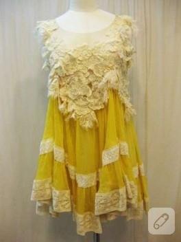 Dantelli sarı yazlık elbise