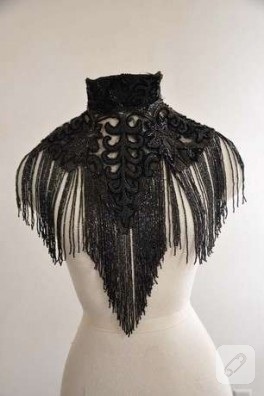 vintage siyah boyunluk