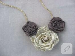 Kumaş güllerle yapılmış kolye