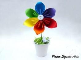 Saksıda gökkuşağı origami çiçek