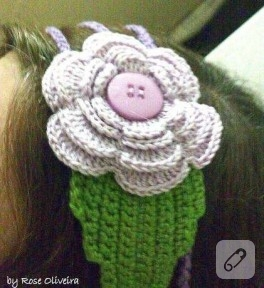 Örgü Güllerle Saç Bandı